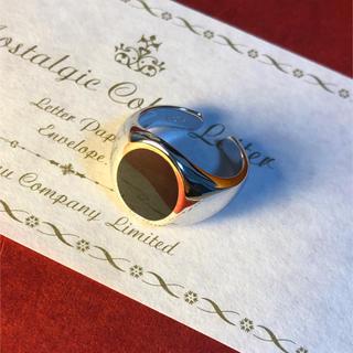 シルバー925 ブラックオニキス カレッジリング オーバル フリーサイズ(リング(指輪))