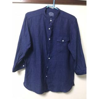 グリーンレーベルリラクシング(green label relaxing)のユナイテッドアローズ グリーンレーベル 襟なしシャツ 7分丈 ブルー(シャツ)