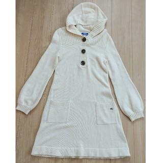 バーバリーブルーレーベル(BURBERRY BLUE LABEL)のBURBERRY チュニック ワンピース 白 セーター 38 M ブランド 冬服(ひざ丈ワンピース)