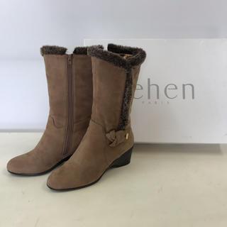 【美品】tehen  ブーツ スエード ベージュ 23.5cm(ブーツ)