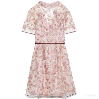 Lily Brown - リリーブラウン お花コードレースワンピース
