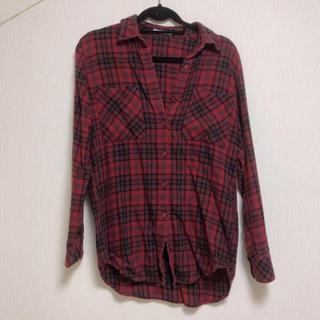 マウジー(moussy)の【処分大特価】 moussy コットン100% チェックシャツ 赤(シャツ/ブラウス(長袖/七分))