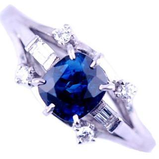 MIKIMOTO - ミキモト ヴィンテージ サファイア ダイヤモンド 縦爪 プラチナ リング