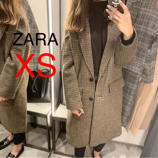 ザラ(ZARA)の新品!ZARA チェックコート ブラウン(ロングコート)
