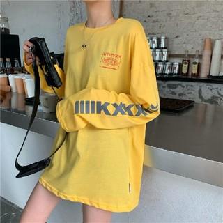 新品 袖ロゴ 英字 プリント オーバーサイズ Tシャツ 長袖 黄色(Tシャツ(長袖/七分))
