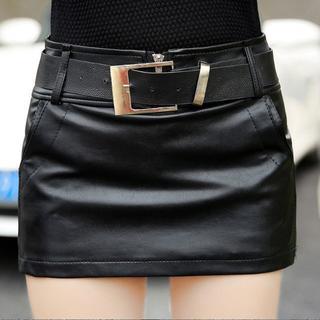 新品 レザー ベルト付き ミニ丈 ミニスカート ショートパンツ