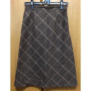 スカート チェック ブラウン(ひざ丈スカート)