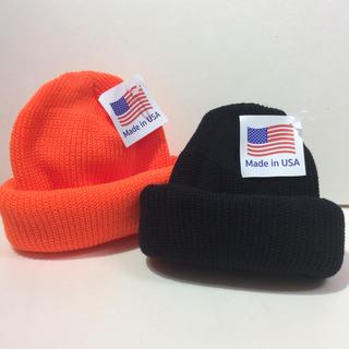 ロスコ(ROTHCO)のロスコニット帽 ブラック&オレンジ 新品(ニット帽/ビーニー)