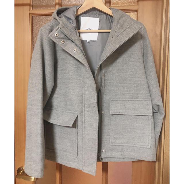 ショート丈 コート グレー レディースのジャケット/アウター(ピーコート)の商品写真