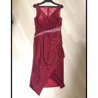 タイト ドレス 赤 レッド パーティ (ミディアムドレス)