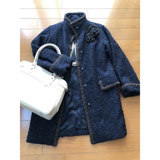 エポカ(EPOCA)のエポカ ラグジュアリーなツィードコート 濃紺 40(ロングコート)