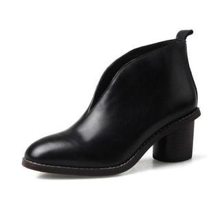 ブーツ 23.5cm ブラック Vカット 丸ヒール レディース 黒 太ヒール(ブーツ)