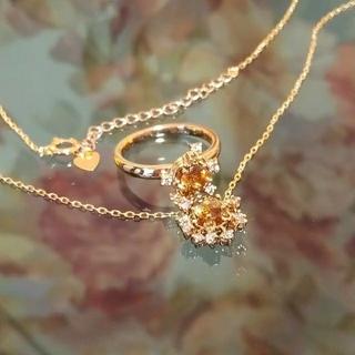 ヴェレッタオッターヴァ k18pg ダイヤ アンダリュサイト リング ネックレス(リング(指輪))