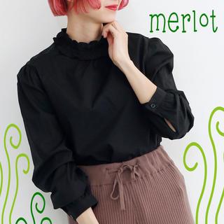 merlot - 年末大感謝祭【merlot/メルロー】フリルネックバックボタンブラウス★黒