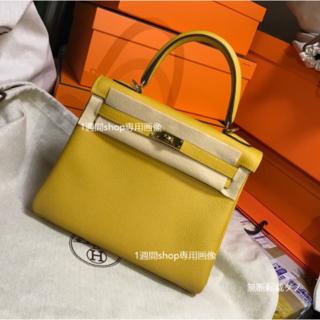 Hermes - 2018春夏 ジョーヌアンブル ケリー28 内縫い ゴールド金具 ハンドバッグ