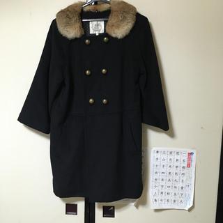 ファー付きコート サイズ38(毛皮/ファーコート)