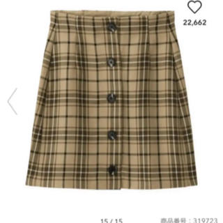GU - ジーユー  チェック ミニスカート AM ベージュ L