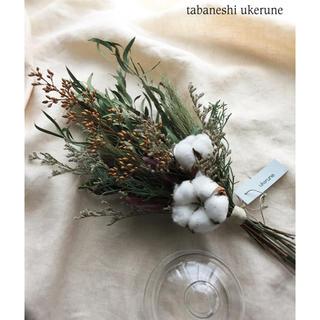 初雪のようなフワフワの綿花と針葉樹を束ねた秋冬に添える スワッグ ドライフラワー(ドライフラワー)