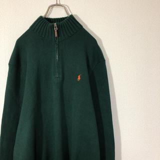 POLO RALPH LAUREN - ポロ ラルフローレン ハーフジップ ニット セーター 刺繍ロゴ ビッグ 古着