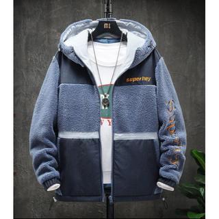 厚手 スエード 子羊の毛 フード付き パーカー ジャケット 防寒 メンズ コート(ノーカラージャケット)