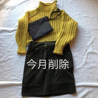 ikka - ikka💚濃いカーキ色コーデュロイスカート