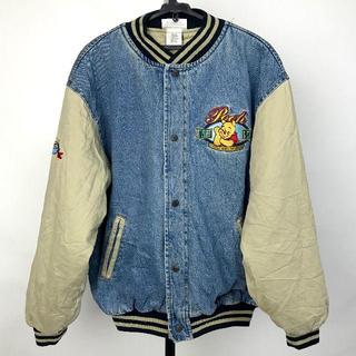 ディズニー(Disney)のレア OLD Disney pooh プーさん ビッグ刺繍 デニムジャケット(ブルゾン)