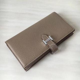 Hermes - エルメス>  ベアン エトープ トゴ 長財布 グレー 二つ折財布 SV金具