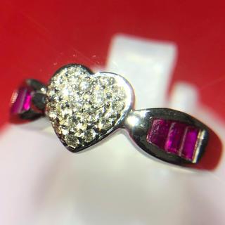 ハート ルビー  ダイヤモンド リング 指輪 750 18金 ホワイトゴールド(リング(指輪))