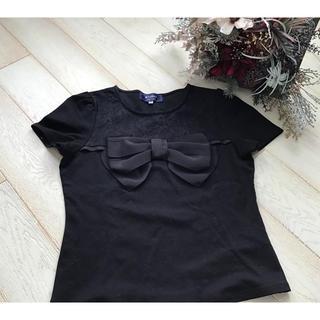M'S GRACY - エムズグレーシー 半袖 リボンカットソー Tシャツ ブラック 38 美品