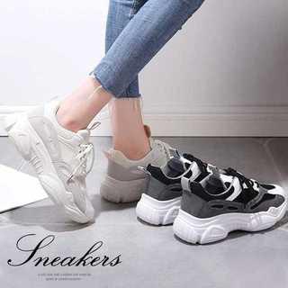厚底 スニーカー レースアップ 運動靴 ランニングシューズ 歩きやすい ブラック(スニーカー)