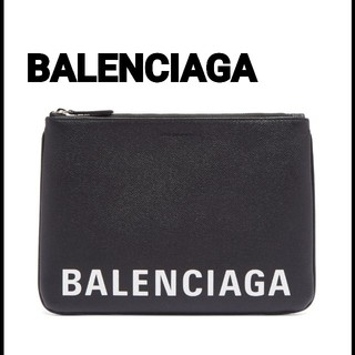 BALENCIAGA BAG - BALENCIAGA☆ロゴプリントレザーポーチM バレンシアガクラッチバック