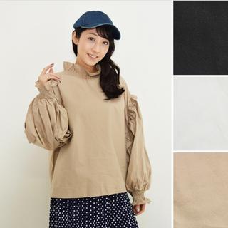 merlot - Fillil/フィリル♡フリルネック★ボリュームスリーブシャツ ベージュ