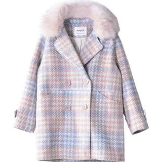 snidel - 韓国 韓国ファッション コート チェック ウール ピンク パステル