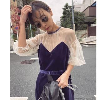 Ameri VINTAGE - 本日発売新作! TULLE SLEEVE TIGHT DRESS!