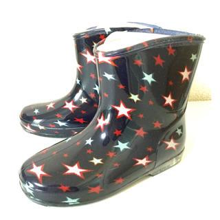 【新品】レインブーツ 《ブラック・星柄》 キッズ 長靴 子供用長靴