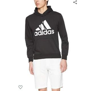 アディダス(adidas)の新品タグ付き アディダス プルオーバー パーカー ブラック ビックロゴ メンズ(パーカー)