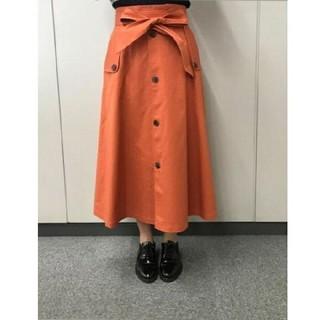 アールユー(RU)の今季美品 ru アールユー ベルト付き チノロング フレアスカート(ひざ丈スカート)