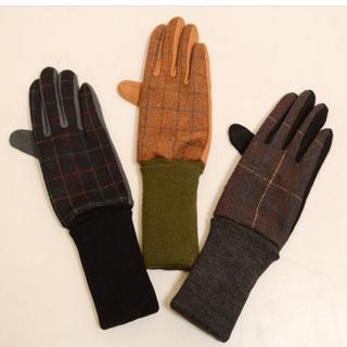 メルロー(merlot)のツイードチェック袖口リブニット手袋 キャメル チャコールグレー ひとつのお値段☆(手袋)