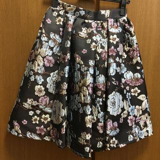 クリア(clear)のクリア 花柄刺繍スカート(ひざ丈スカート)