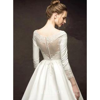 【新品】シンプル 上品 ボートネック ウェディングドレス  #ma277