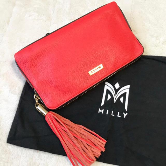 Milly(ミリー)の新品未使用 milly ミリー フリンジ クラッチバッグ オレンジレッド レディースのバッグ(クラッチバッグ)の商品写真