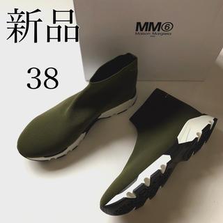 マルタンマルジェラ(Maison Martin Margiela)の新 品 38 MM6 マルタン マルジェラ ソックス スニーカー カーキグリーン(スニーカー)