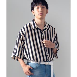 ウィゴー(WEGO)のWEGO ワイドストライプ開襟五分袖オーバーシャツ(シャツ)
