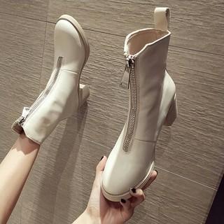 アイボリー   新作 ファッション ジッパー ハイヒール  ブーツ   (ブーツ)