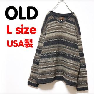 サンタモニカ(Santa Monica)のUSED OLD 古着 デザインセーター ニット ウール 総柄 好配色 グレー(ニット/セーター)