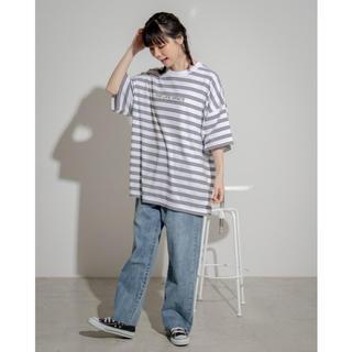 ウィゴー(WEGO)のWEGO ドロップショルダーボーダーロゴTシャツ(Tシャツ/カットソー(半袖/袖なし))