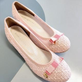 可愛いパンプス シューズ 靴 ピンクと ゴールド リボン 23㎝ 即日発送 (ハイヒール/パンプス)