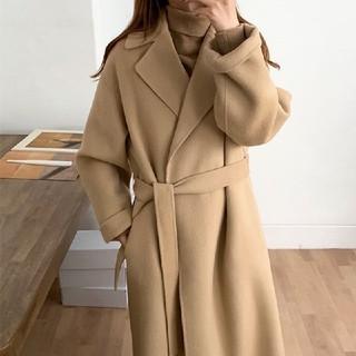 titivate - 2カラー 厚いウールのコート ストラップウエスト