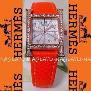Hermes - 新品 エルメス Hermes オレンジ 腕時計 レディース 女性物 スワロフスキ