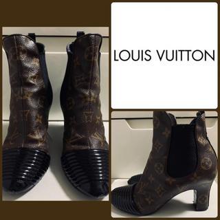 LOUIS VUITTON - ルイヴィトン モノグラムレザー  サイドゴア ブーツ